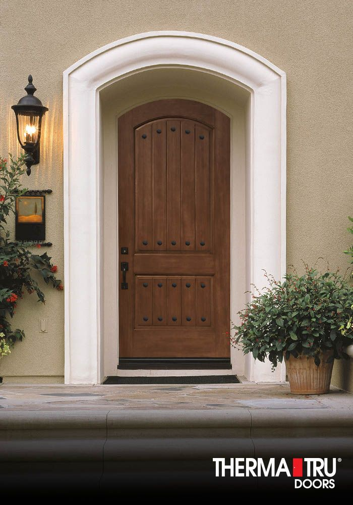 Arched 2 Panel Plank Soft Arch Stained Fiberglass Entry Door By Therma Tru Fiberglass Front Entry Doors Fiberglass Entry Doors Entry Doors