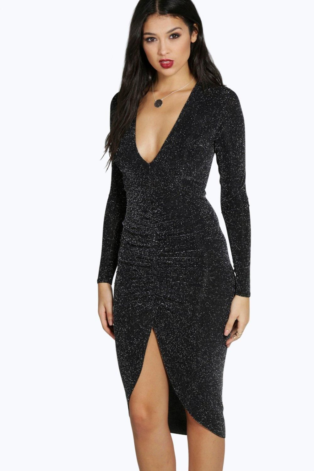4ccafd19eb7c Boohoo - Rose Metallic Ruched Front Midi Dress in Black / New Year's Eve  anyone? It's even got long sleeves for the Winter! ------------------ 30€