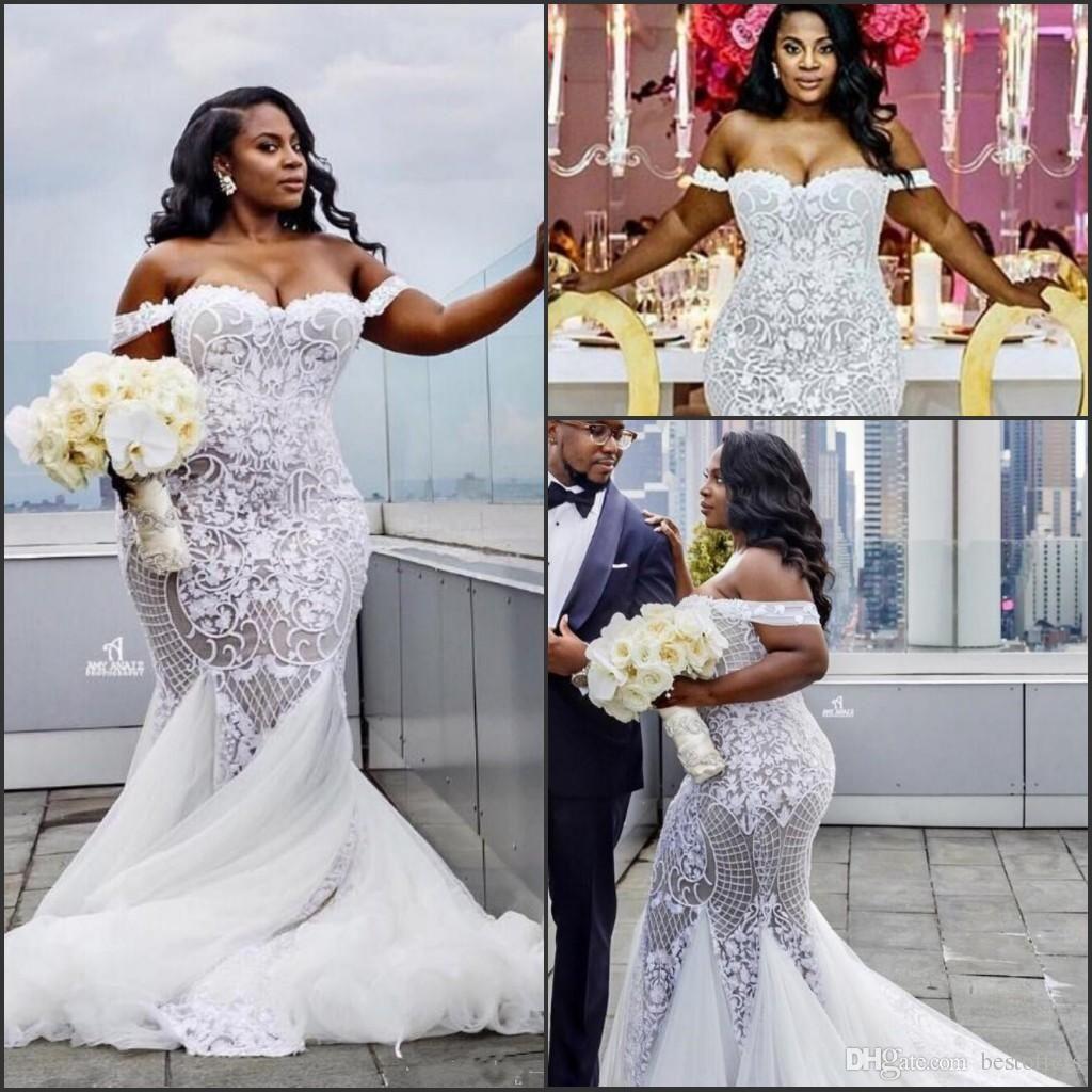New ivory lace wedding dresses long sleeve off the shoulder v