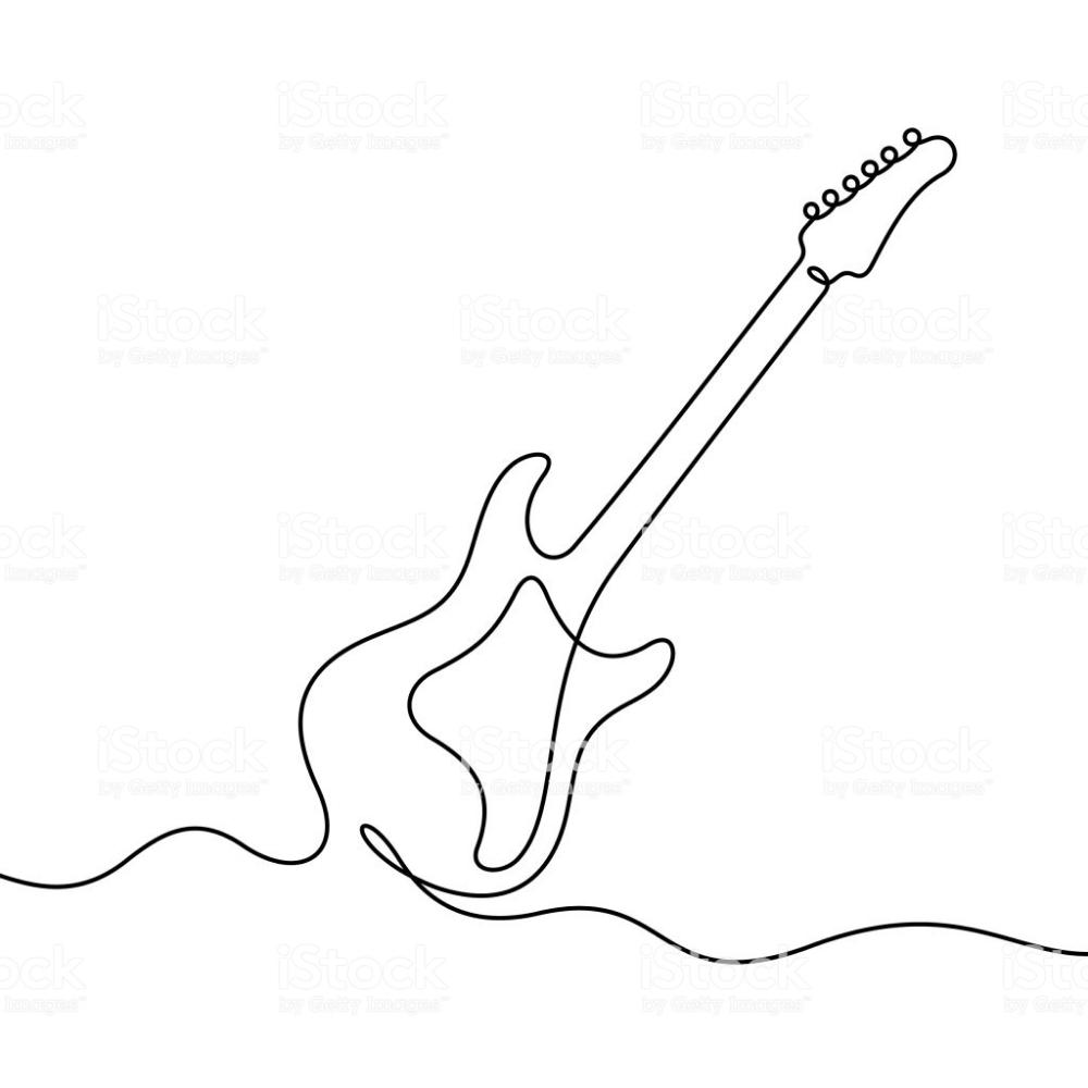 Electric Guitar Continuous Line Vector Illustration Desenhos Musica Desenhos Estampas