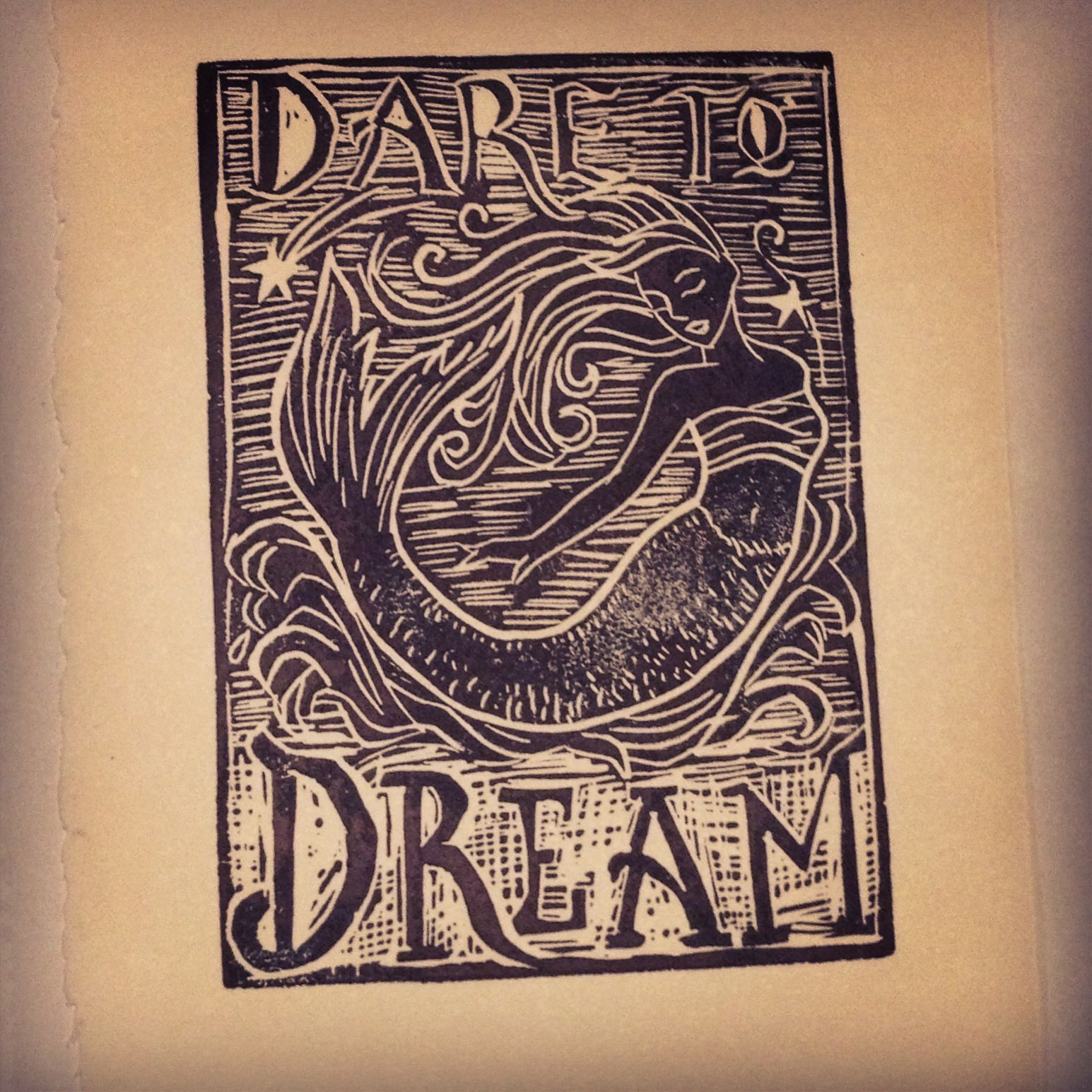 Block Print #print #mermaid #illustration #dream #nautical