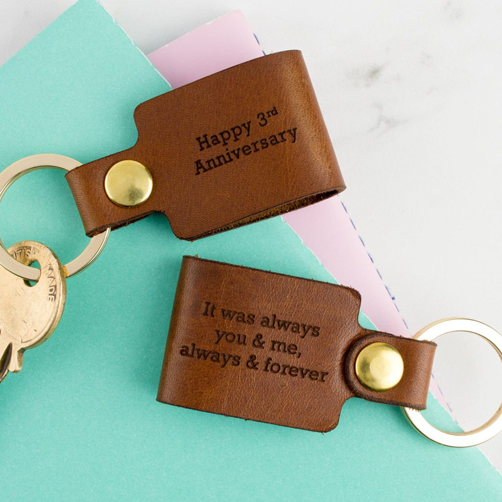 Personalised Leather Keyring Leather anniversary gift