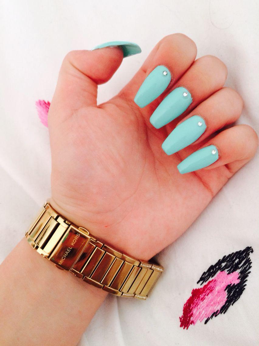 Coffin nails; mint colour. My beauties!! | nails | Pinterest