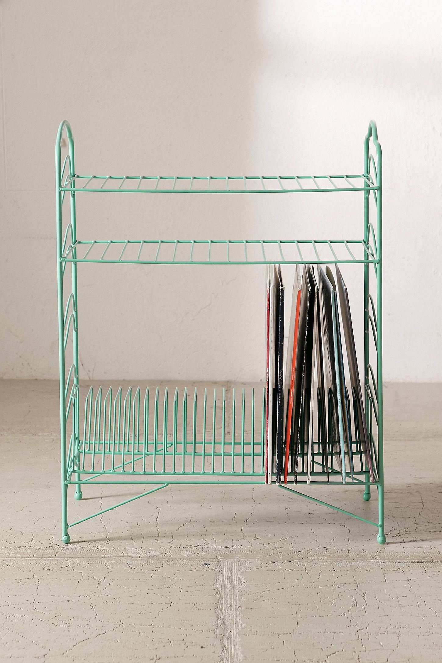 vintage record rack a attractive bin functional vinyl pin shelf holds counter metal top lp and classic storage crate mcm