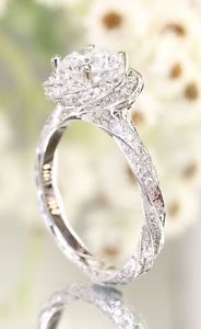 1.78 Ct Round Diamond Twisted Flower Engagement Ring 14K White Gold Fn