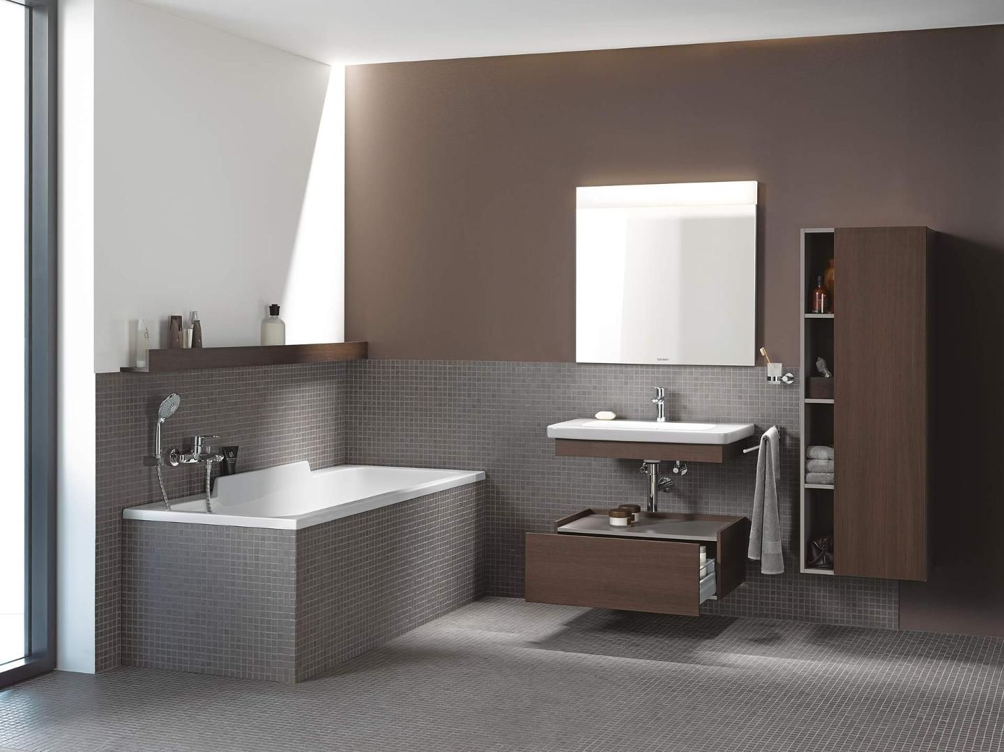 Durastyle Tall Cabinet And Low Cabinet Both In Chestnut Dark And Wall Mounted Designed By Mat Modern Bathroom Vanity Luxury Bathroom Vanities Bathroom Design