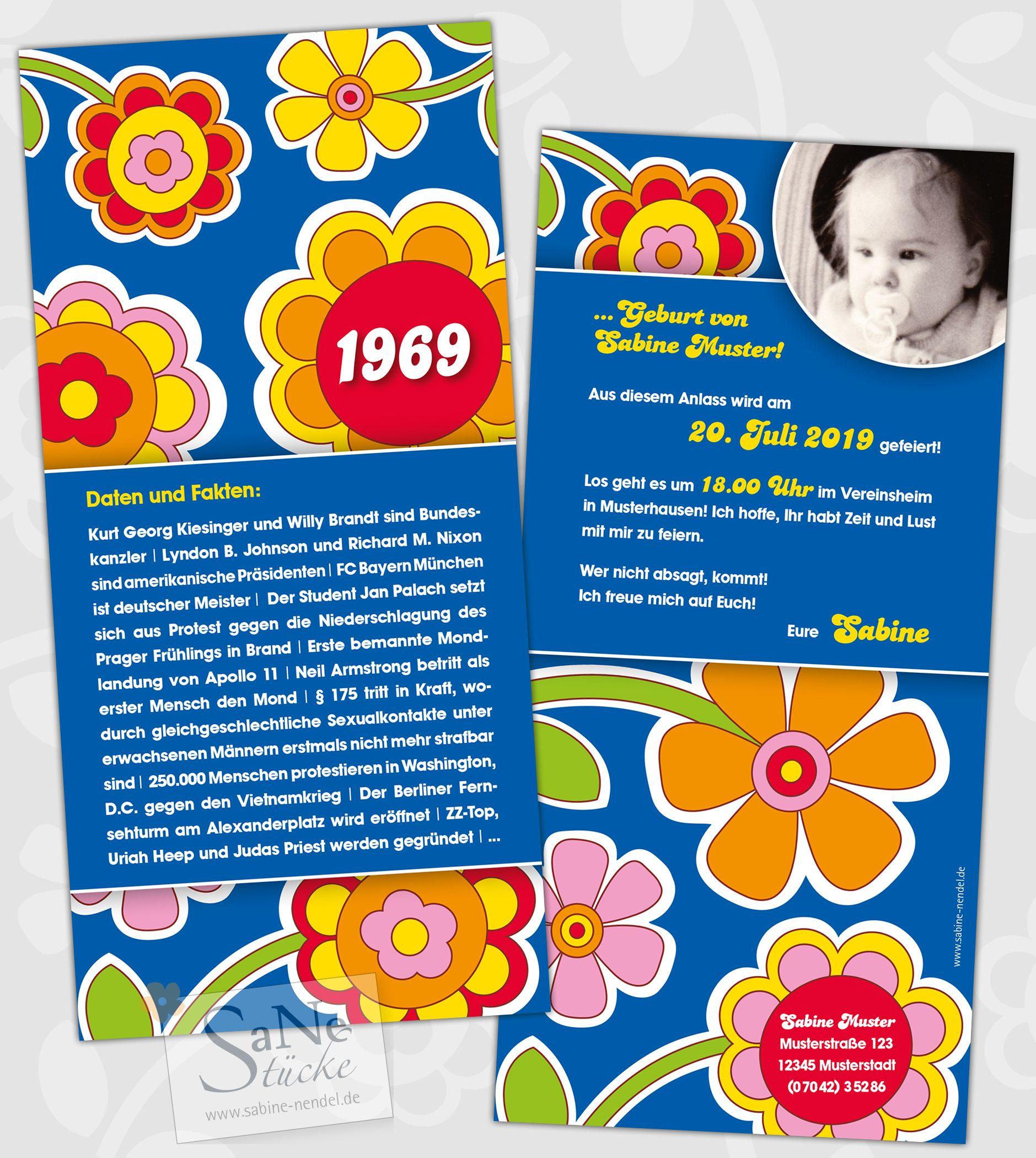 60er Jahre Party Einladung Runder Geburtstag Einladungskarten