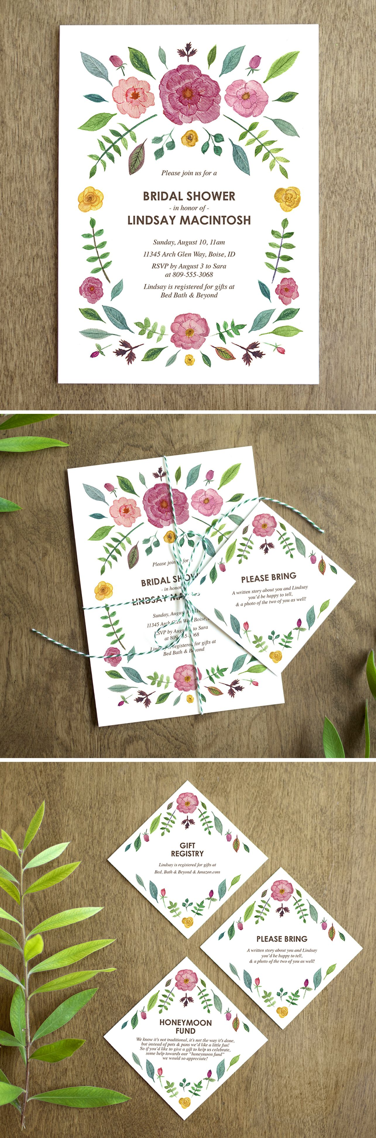 Botanical garden bridal shower invitation with watercolor florals