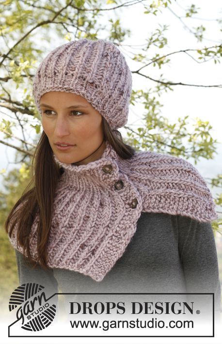 """Kate - Knitted DROPS hat and neck warmer in English rib with buttons in """"Eskimo"""". - Free pattern by DROPS Design"""