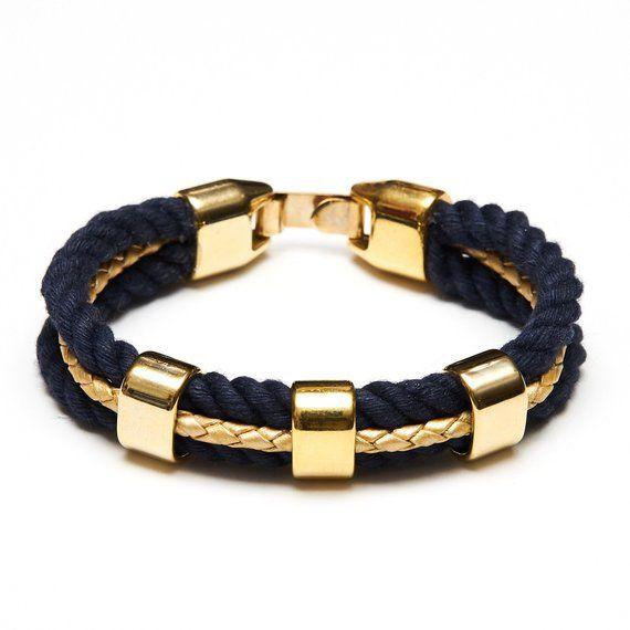 Nautical Rope Bracelet Navy Blue Gold Nau