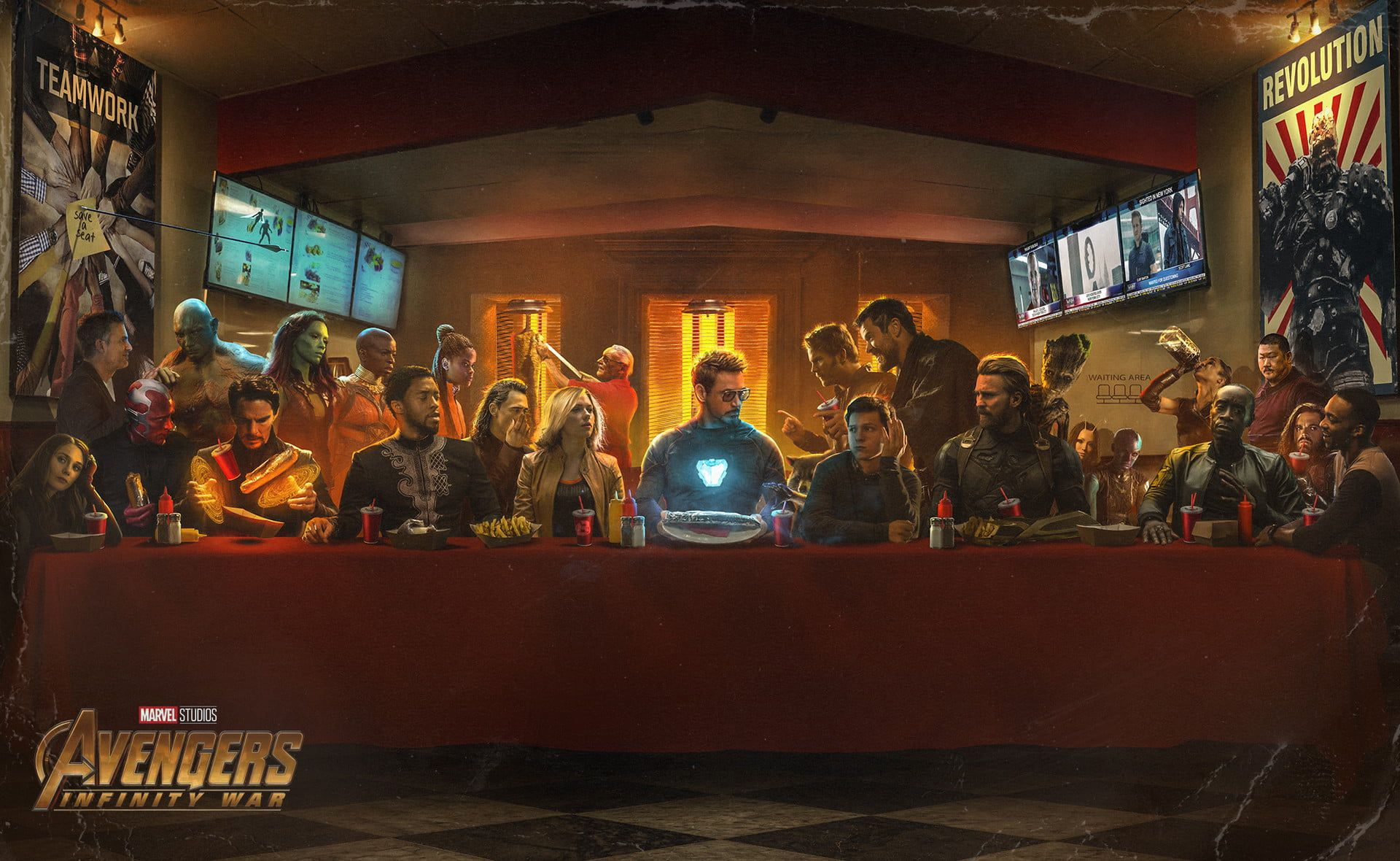 Marvel Avengers Infinity War poster Avengers Last Supper wallpaper The Avengers Iron Man Black Widow Black Panther Doctor Strange Drax the Destroyer Captain America Stan...