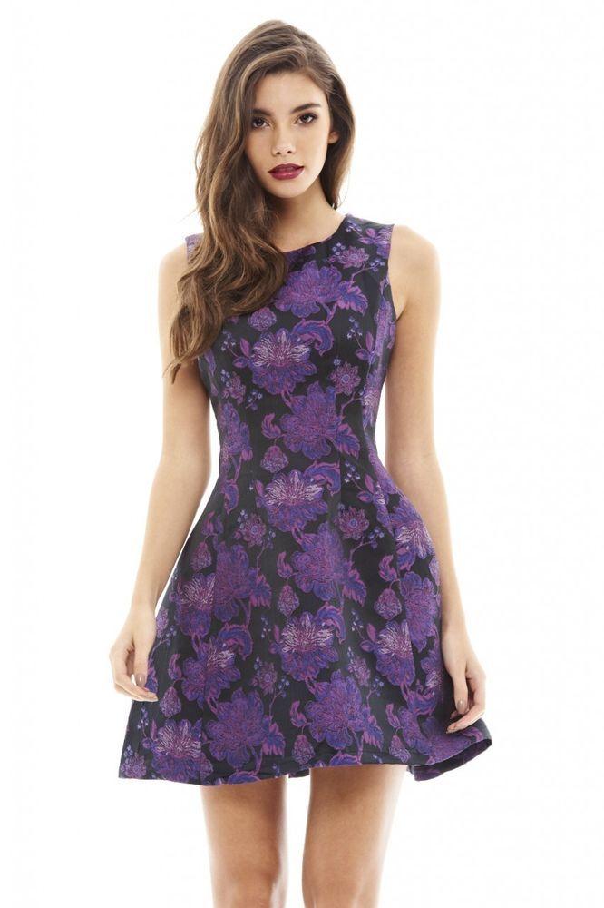 AX Paris Womens Bright Floral Skater Dress Purple Round Neck ...