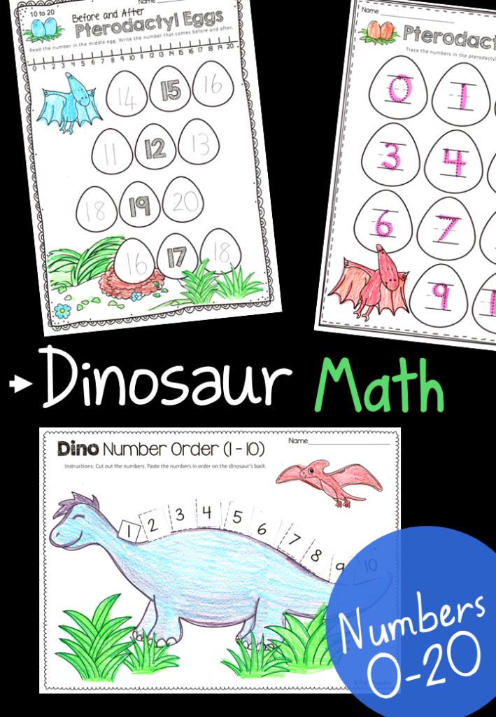 Dinosaur Math Activities 0 20 Education Pinterest Math