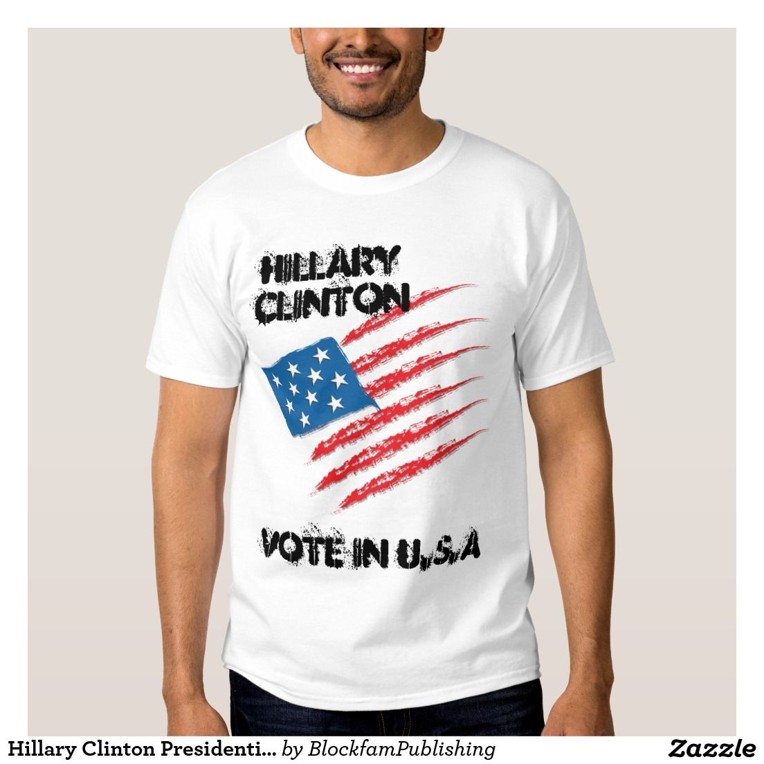 59a94d957b Hip Hop Urban Style Mens Cotton Vote For Hillary Clinton for President 2016  White T-Shirt. (New) (Fashion)