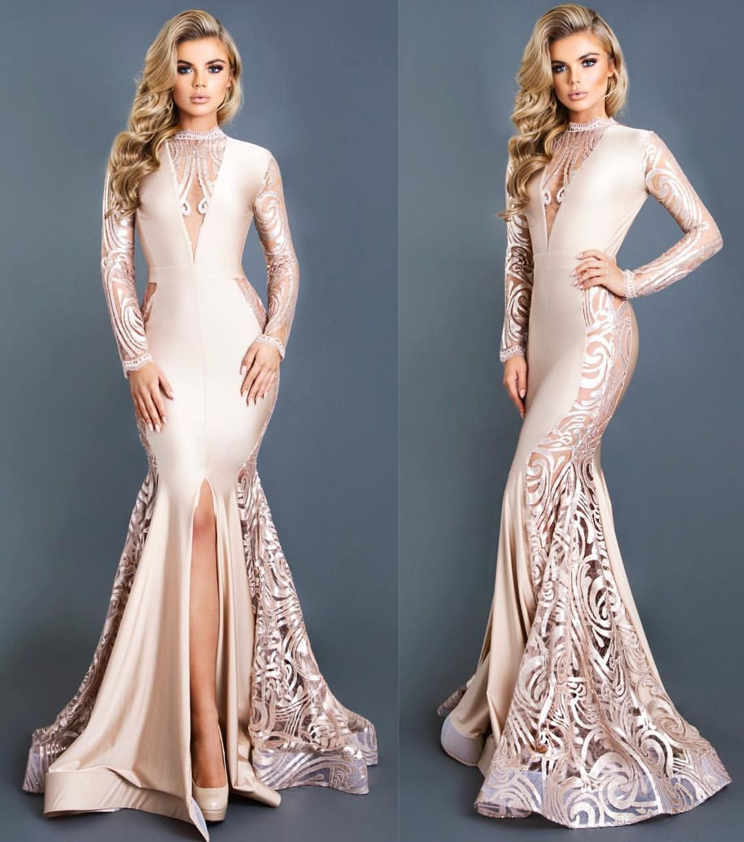 Michael Costello Nude Mermaid Evening Occasion Dresses with Long Sleeve  2018 Lace Stain Sexy Split Mermaid Prom Formal Gowns Overskirt Evening Dress  Yousef ... e8aa5b4ee