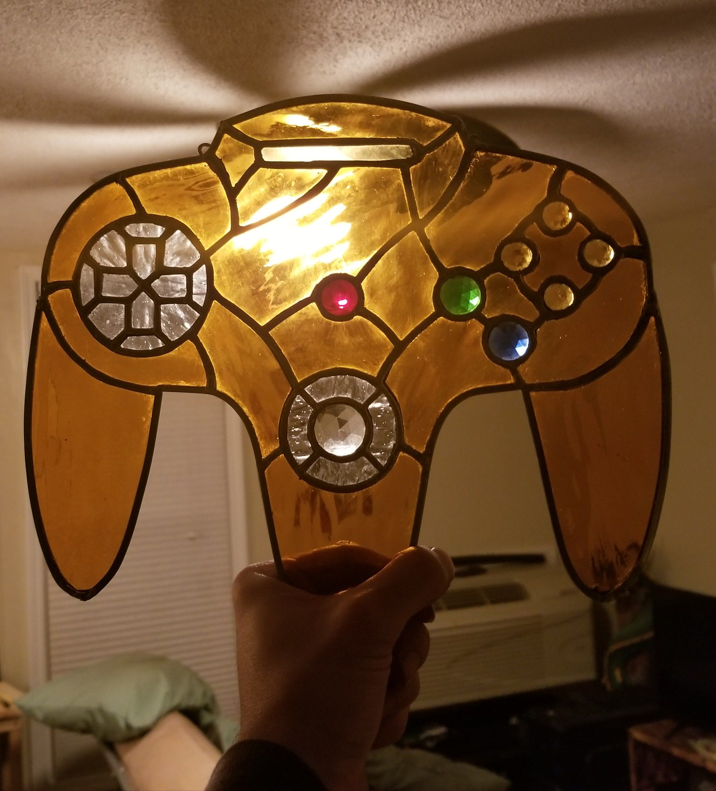 Stained glass Nintendo controller Stained glass, Glass