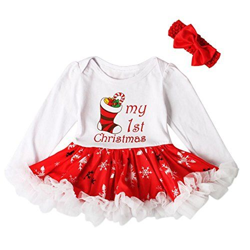 c68961bff Timall Baby Girls Christmas Outfits Set My First Christmas Tutu Dress  Headband >>> You can get more details by clicking on the image.