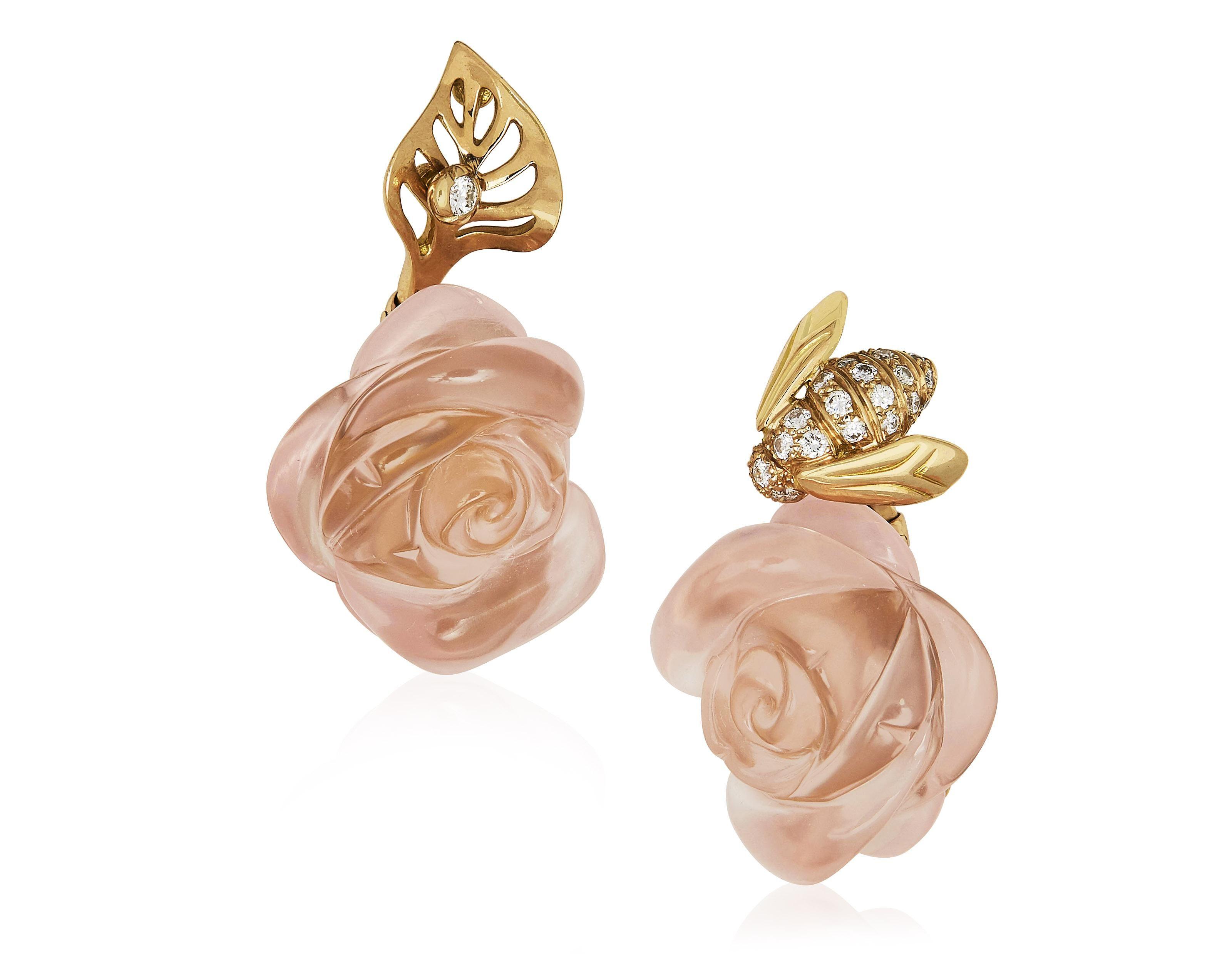 9679b00089 Dior 'rose dior 'pré catelan' quartz, diamond and gold earrings ...