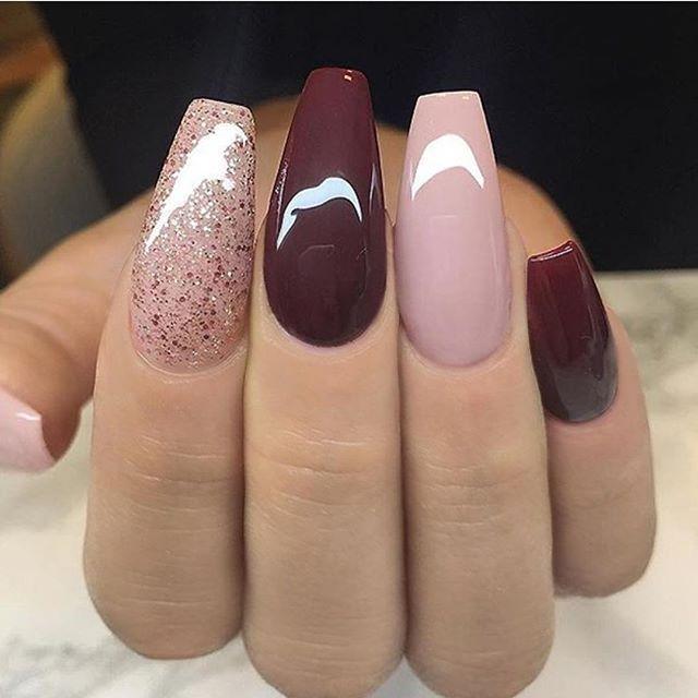 Dark Red Mauve And Glitter Nail Art Design Nailart Diynaildesigns Mauve Nails Gel Nails