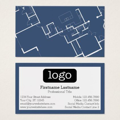 Construction or Architect - Blueprint and Logo Business Card - new blueprint resumes & consulting reviews