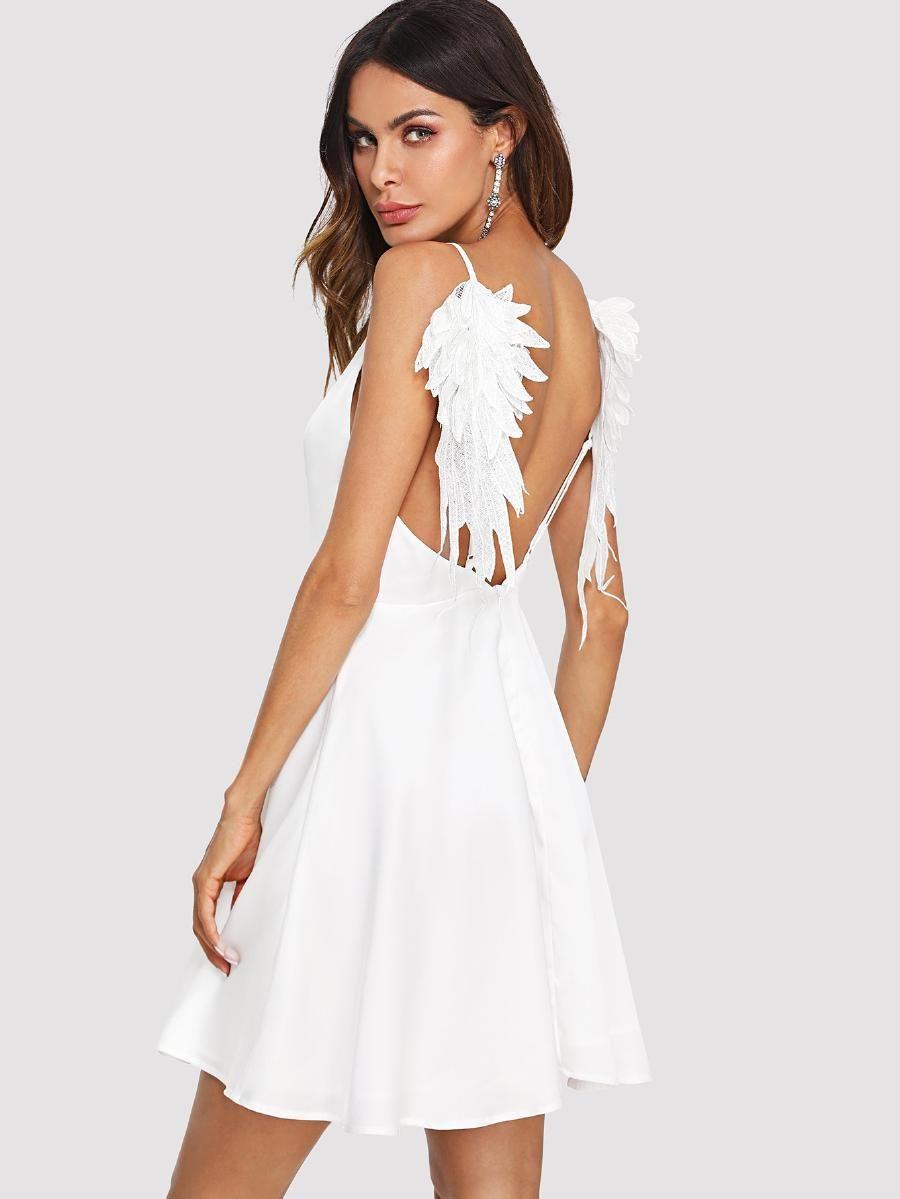 Applique open back fit flare cami dress sheinsheinside