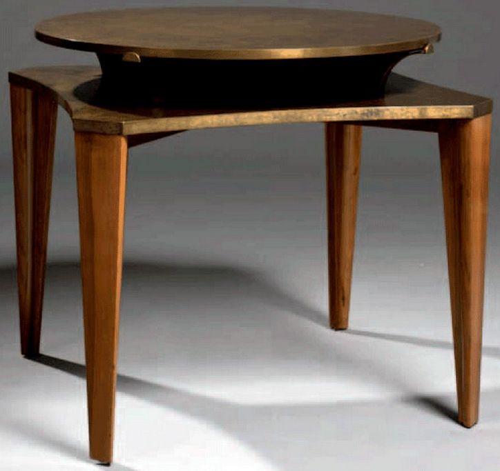art d co eug ne printz table de jeux palissandre et laiton oxyd ann es 30 art deco. Black Bedroom Furniture Sets. Home Design Ideas