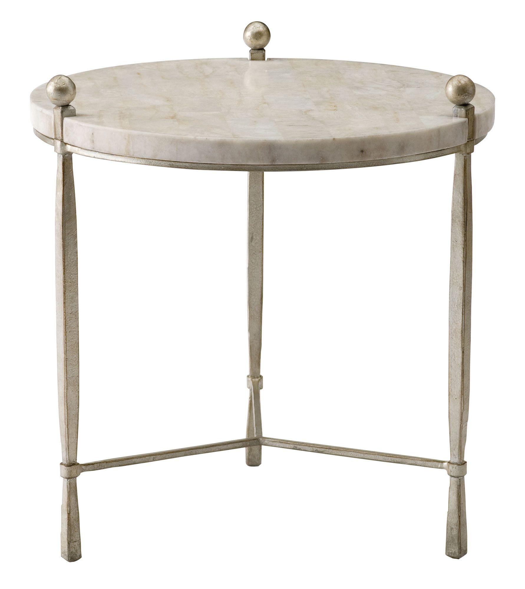 563 122 Clarion Round Chairside Table | Bernhardt Dia 24.5 H 26 White Stone  Top #LightFinish $1387.50 #2Foot