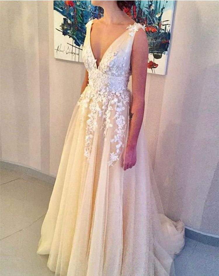 9c462db7cca A-Line V-Neck Prom Dress