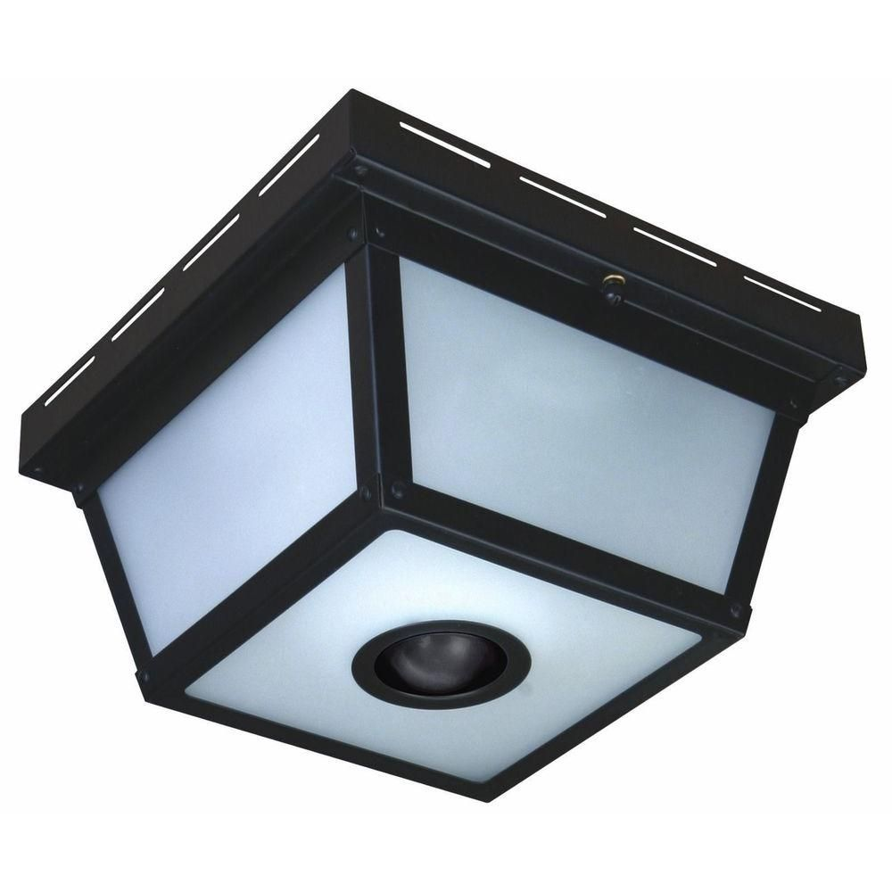 Front Porch Lighting Heath Zenith 360 Degree Square Motion Sensing Outdoor Black Ceiling At The Home Depot
