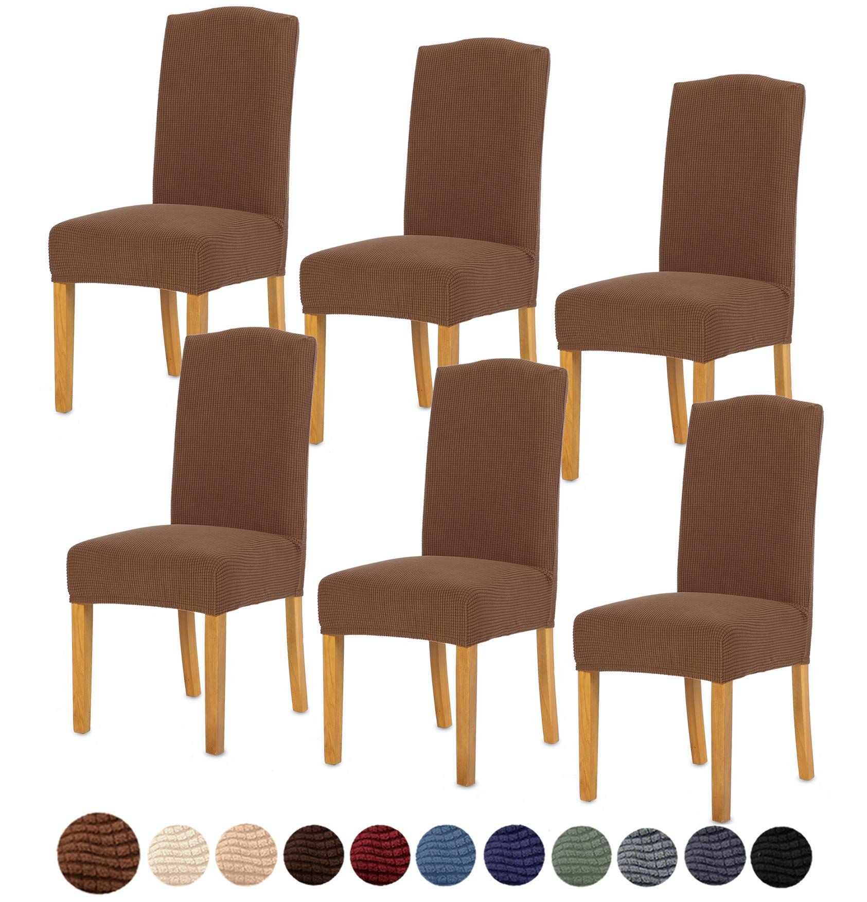 Tianshu Stretch Chair Cover For Home Decor Dining Chair Slipcover 6 Pack Coffee In 2020