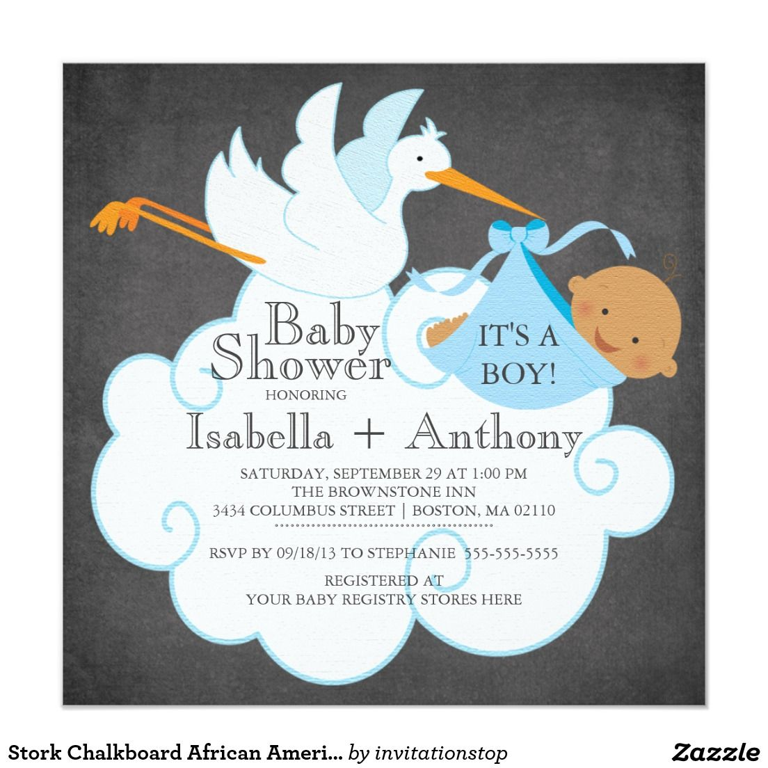 Stork Chalkboard African American Boy Baby Shower 5.25x5.25 Square Paper Invitation Card