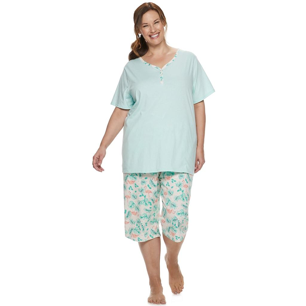0b8aeb2e1bed7 Plus Size Croft & Barrow Sleep Henley & Skimmer Capri Pajama Set, Women's,  Size: 3XL, Lt Orange