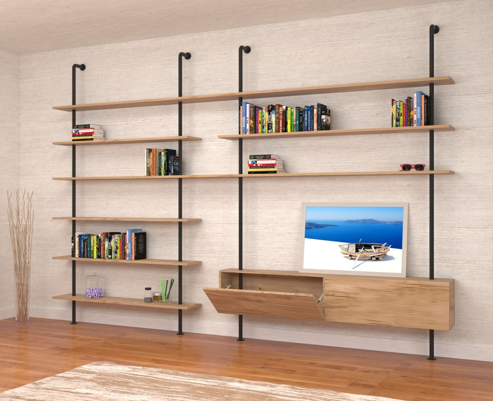 libreria-da-parete-svevo-naturale-2   Stile industriale ...