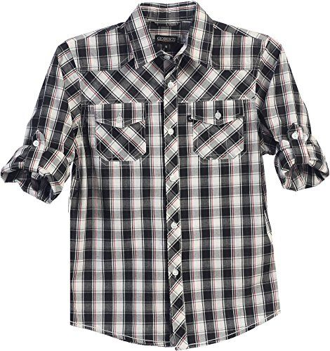 Gioberti Little Boys Long Sleeve Roll Up Gray / Red Plaid Checked Shirt - http://our-shopping-store.com