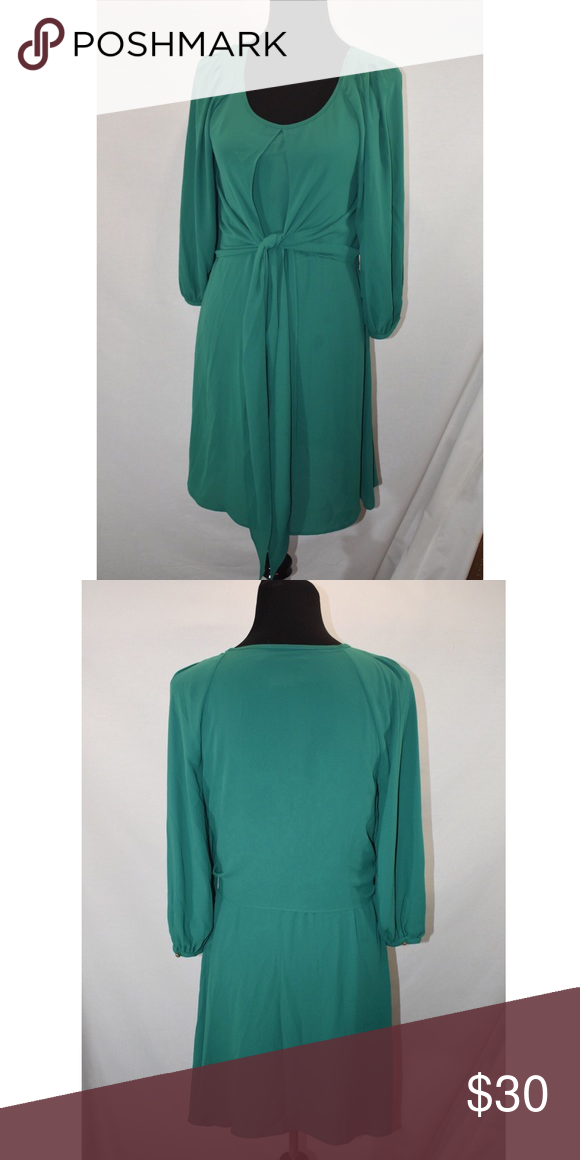 84e9179fadf10 Anthropologie Maeve 3/4 Sleeve Dress Green Sz 4 Tie front Scoop neck 34""