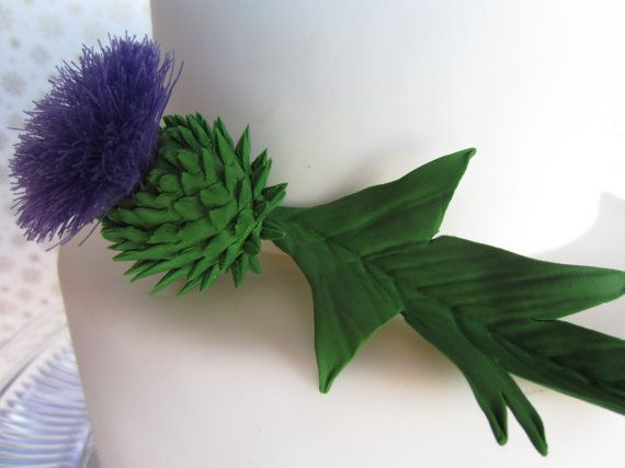 sugar Scottish Thistle cake topper a set of 3 by ...