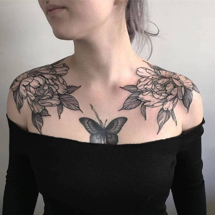 Girl Chest Tattoos White Background Black Top Flowers Butterfly Ash Blonde Hair In 2020 Chest Tattoos For Women Rose Chest Tattoo Tattoos For Women