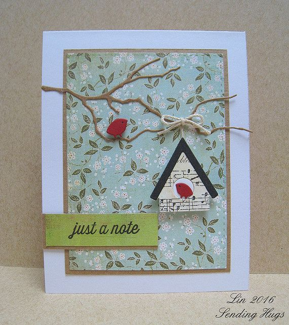 Handmade Greeting Card Die Cut Tree Branch With Birds