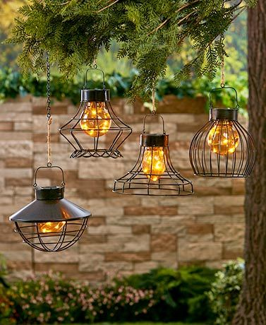 Solar Caged Fairy Light Lanterns Hanging Solar Lights Lantern Lights Solar Lights Garden