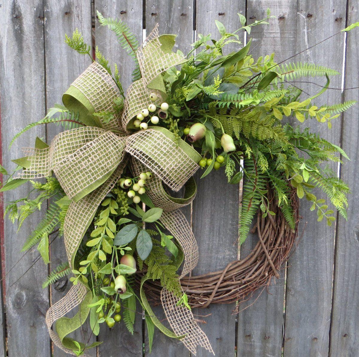 Year Round Wreath Burlap Winter Wreath Burlap Wreath Spring Wreath Front Door Wreath Everyday Wreath