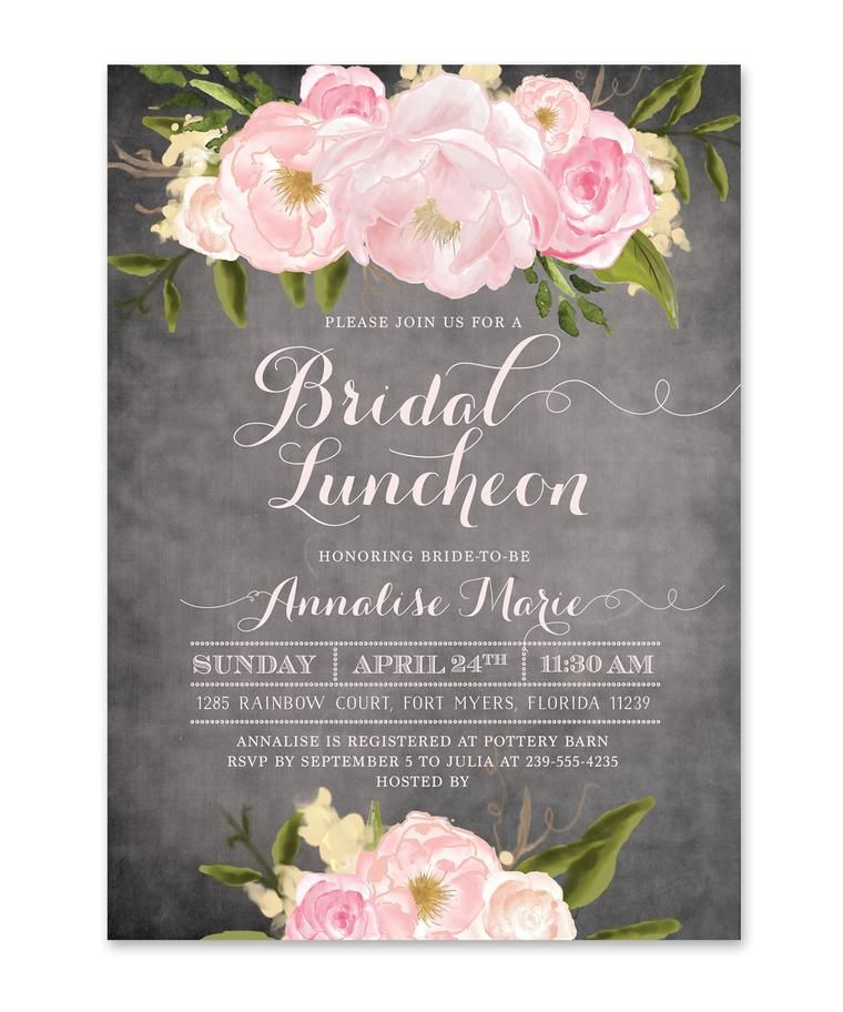 Emily bridal luncheon invitation bridal shower for Wedding brunch invitations