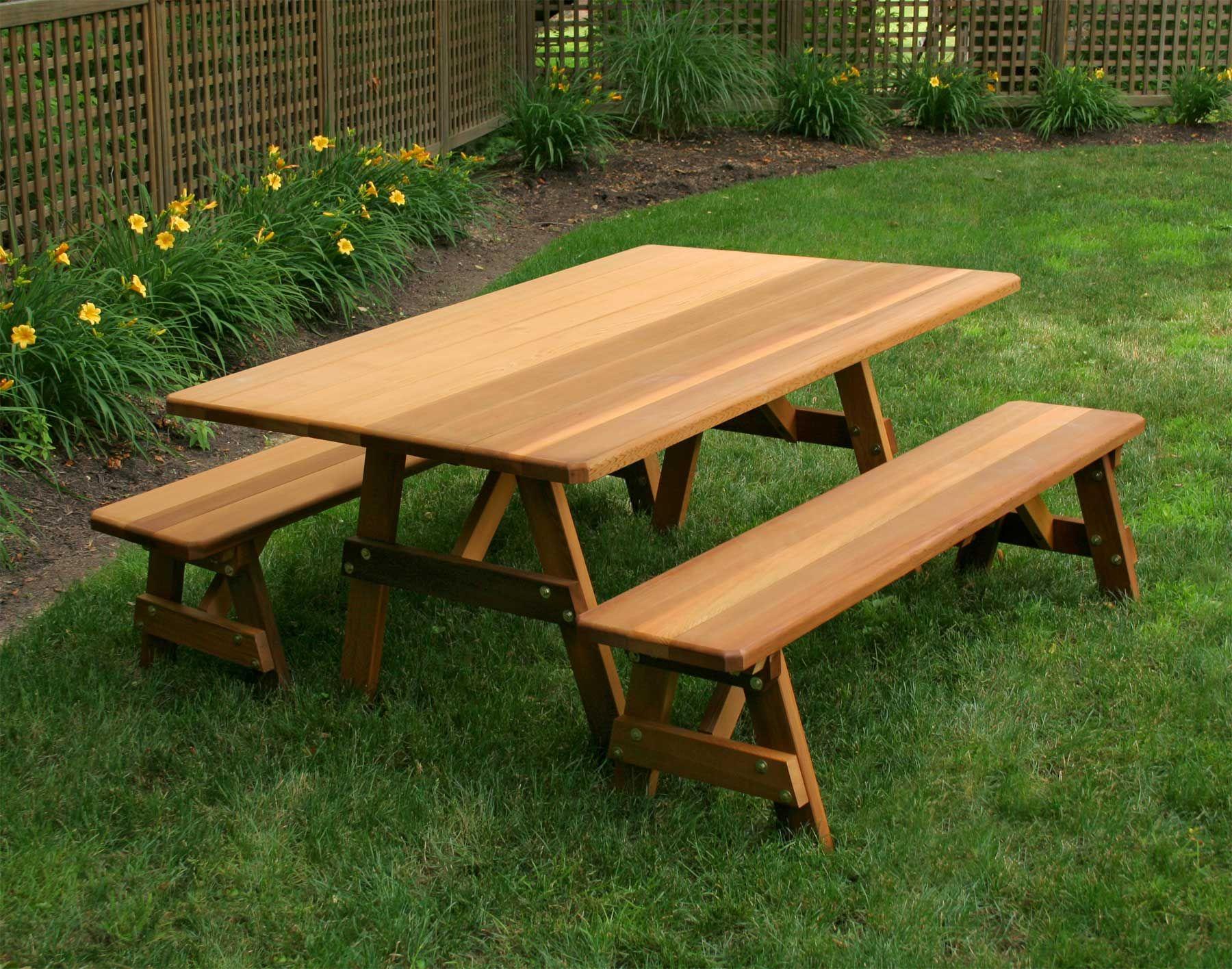 Cool 42 Wide Red Cedar Traditional Picnic Table W Benches 42W Creativecarmelina Interior Chair Design Creativecarmelinacom