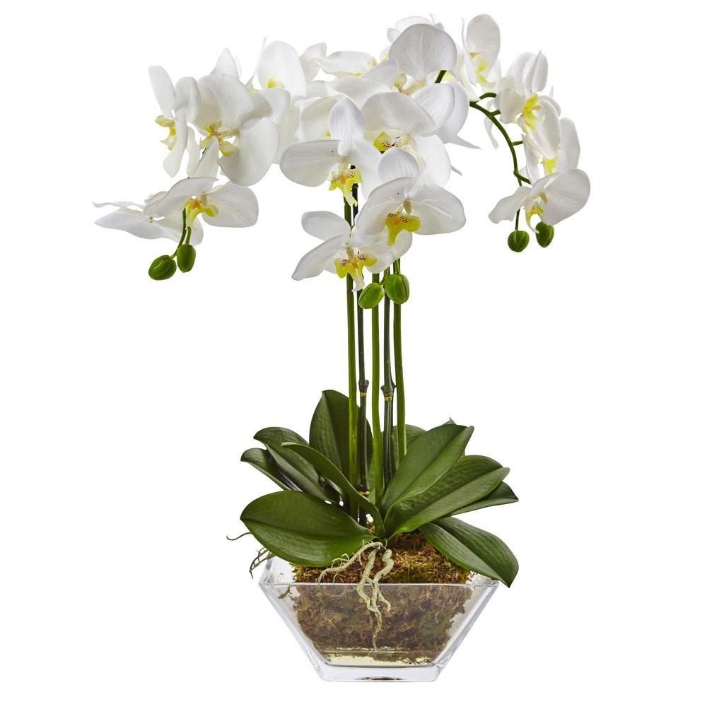 Nearly Natural 22 In Triple Phalaenopsis Orchid In Glass Vase 4570 The Home Depot Silk Orchids Phalaenopsis Orchid White Flower Arrangements