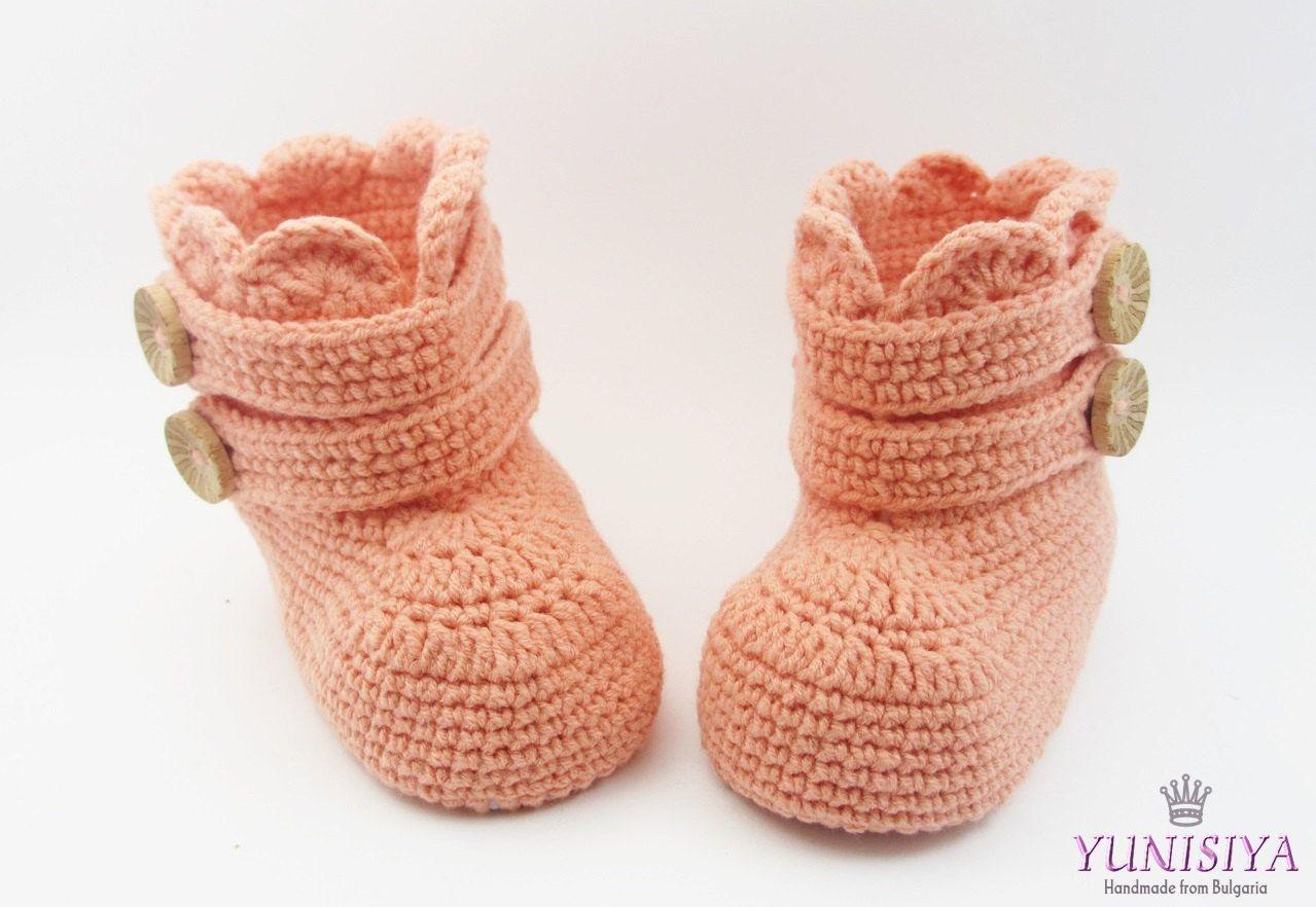 Crochet baby shoes, Orange crochet unisex baby booties, Baby Boots ...