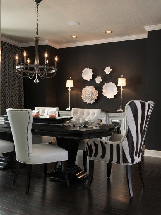 Glam Dining Room  3 Hardwoods Table & Chairs Not So Much The New Zebra Dining Room Chairs Design Ideas