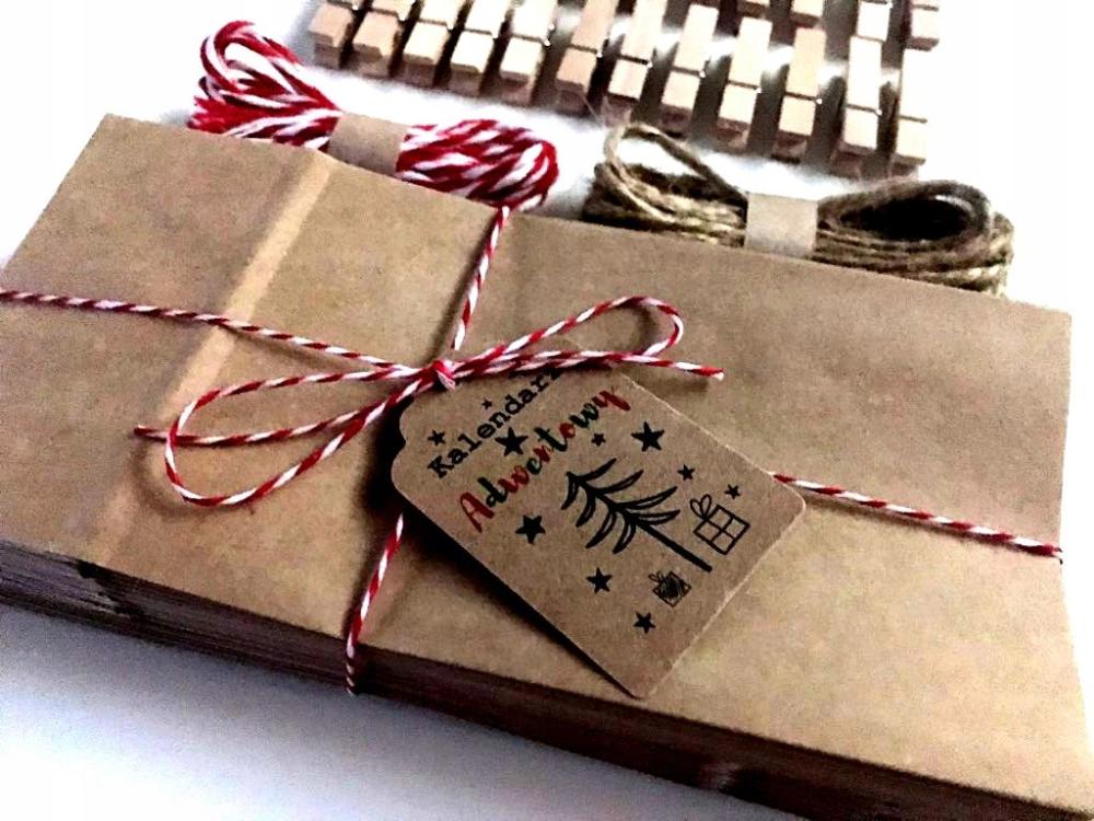 Kalendarz Adwentowy Torebki Eko Girlanda Kraft Gifts Gift Wrapping Wrap