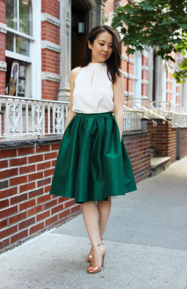 Emerald Green Midi Skirt Palm Print Skirt Green Midi