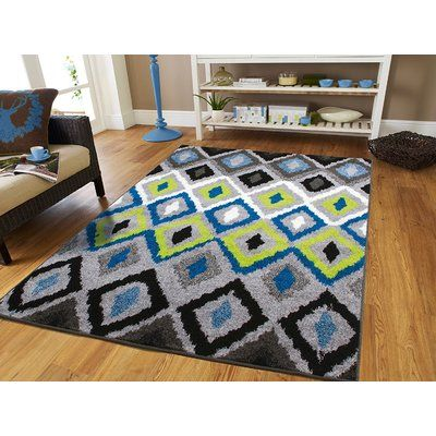 Ebern Designs Melendez Wool Blue Area Rug Rugs In Living Room