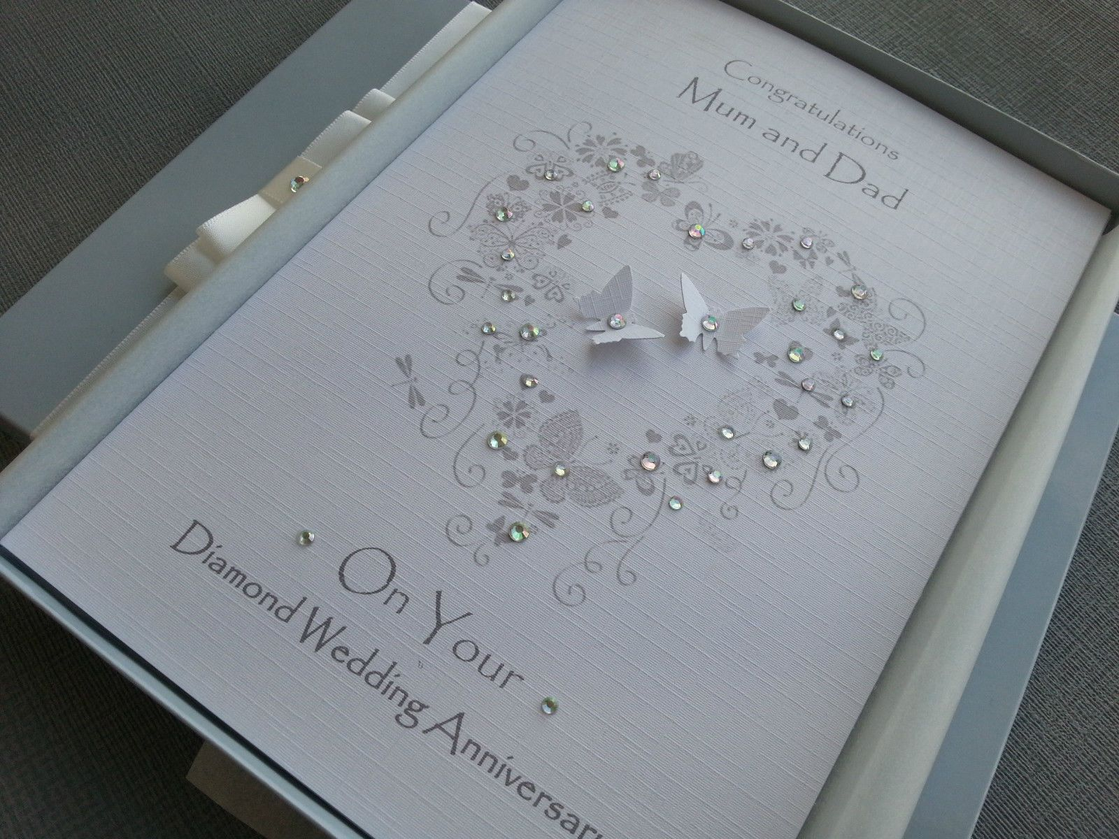 Diamond 60th Wedding Anniversary Card Handmade Personalised Box Envel Wedding Anniversary Cards Anniversary Cards Handmade Diamond Wedding Anniversary Cards