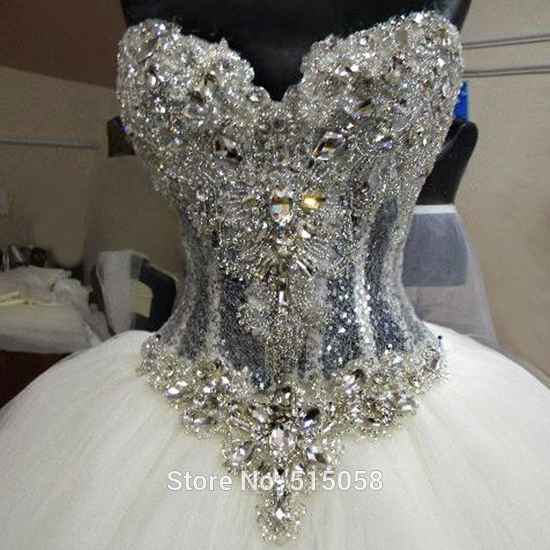 Bling Bling Crystal Beaded Sweetheart See Through Corset Wedding Dresses  Ball Gowns 2016 Sexy(China (Mainland)) 1b0014aa9c41